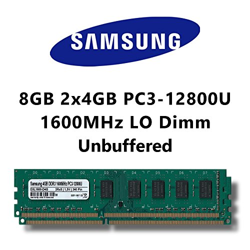 Samsung 8GB (2x 4GB) Dual-Channel Kit DDR3 1600MHz (PC3 12800U) LO Dimm Computer PC Desktop Arbeitsspeicher RAM Memory