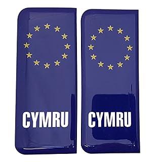 Cymru Wales Nummernschild Aufkleber Aufkleber Badge EU Sterne 3D Kunstharz Gel Kuppel