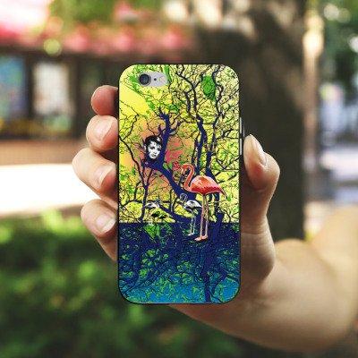 Apple iPhone X Silikon Hülle Case Schutzhülle Flamingo Wald Zaubern Silikon Case schwarz / weiß