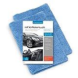 POLYCLEAN 2X Auto Poliertuch – weiches, langfloriges Microfasertuch für eine lackschonende und silikonfreie Reinigung – saugstarkes, randloses HFX-Hochglanz Trockentuch (40 x 40 cm, Blau, 2 Stück)