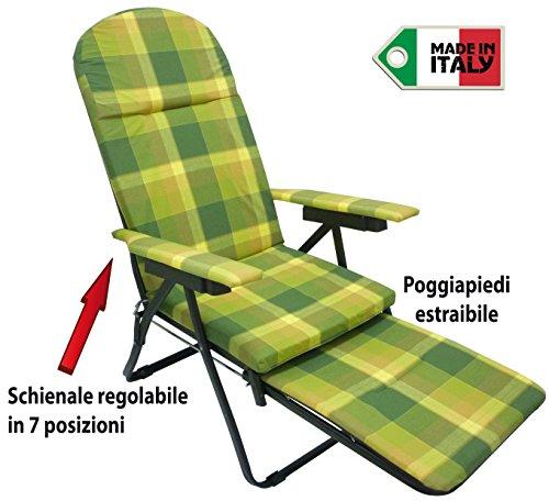 Sedia A Sdraio Con Poggiapiedi.Poltrona Sedia Sdraio In Metallo Imbottita Con Poggiapiedi Per Casa Prendisole