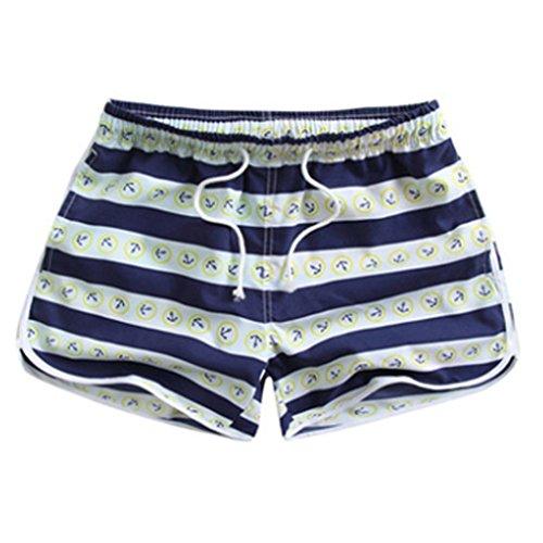 BININBOX® Damen Shorts Badeshorts Badehose Surfshorts beach pants Surfwear  schnelltrocknend Beintasche bunt verstellbarer Bund Muster 6