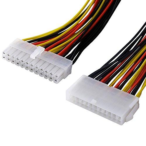 BestPlug 30cm internes PCI Strom-Kabel für Computer, 24pol Stecker männlich auf 24pol Buchse Kupplung weiblich Array Pole