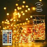 CroLED Luz de Cadena 30m Flexible 300LED Cálida Blanca Alambre de Cobre Impermeable 24 Modo Decoración para Navidad/Fiesta/Boda/Jardín/Festival