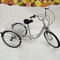 MOMOJA Triciclo 3 Ruote 6 velocità Adulto Trike Bicicletta Pedale Bicicletta con Carrello per Gli Sport all'Aria Aperta 24 '' (Argento)
