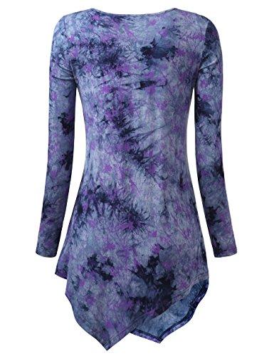 WAJAT Femme Tunique Longue T-Shirt Doux Beaucoup de Couleurs Bleu-Violet