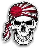 Crâne avec bandana Tête Design avec Soleil Levant japonais Drift style drapeau fantaisie en vinyle Sticker voiture 100x 120mm