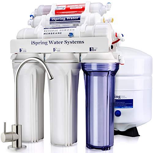 iSpring 6-stufiges 75GPD Umkehrosmose-Filtrationssystem mit Alkalien&Mineralien, Modell RCC7AK