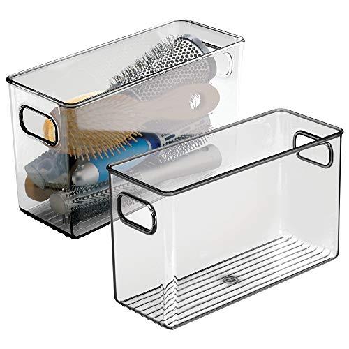 Scheda dettagliata mDesign Set da 2 Contenitori per il bagno - Organizer in plastica per cosmetici, prodotti bagno e molto altro - Pratico cesto per il bagno con manici - grigio