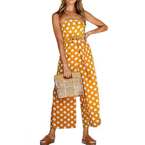 Honghu Correa de Espagueti Femenina Lunares del Hombro Pantalones Largos Mamelucos Mono Corto Playsuits Amarillo M