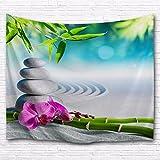 A.Monamour Tapisseries Décoratives Yoga Méditation Zen Plantes Vertes Fleur D'Orchidée Roches Pierres Sable Blanc Paysages Naturels Impression Mur Tapisserie Murales Art Décors Pour Salon 180X200Cm / 71 'X80'