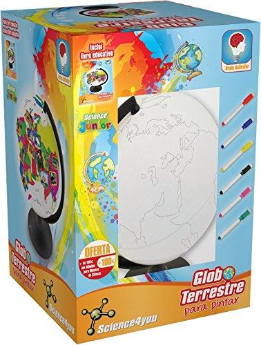 Science4you 9327 - Globo terrestre para Pintar con Libro Educativo y rotuladores