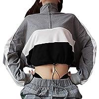 Damen Sweatshirt,Geili Frauen Langarm Reißverschluss Sweatshirt Bluse Crop Tops Mode Damen Patchwork Sport Shirt preisvergleich bei billige-tabletten.eu