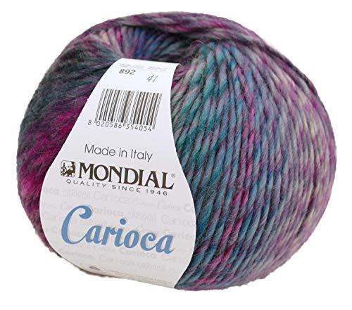 Carioca Mondial 100g Reine Wolle mit Farbverlauf zum Stricken und Häkeln, Farbverlaufswolle, Mützenwolle mit Farbverlauf (892)