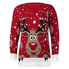 Idea Regalo - Donna uomo donna unisex Christmas jumper larghi jumper Natale 3D novità Star Wars Yoda Dark Vader elfo renna maglione retro vintage 70 Smily Rudolph S/M