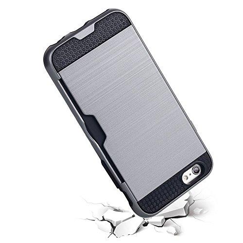 iPhone 6Cas, iPhone 3S, étui, HKW (TM) fente pour carte PC + TPU double couche brossé Hybrid Armor Coque de protection antichoc Housse Coque + film protecteur d'écran pour Apple iPhone 6/6S (Noir) (m Silver Grey