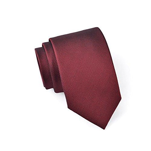 MASSI MORINO Seidenkrawatten für Herren, handgenähte Krawatte Seide in Verschiedenen Farben - schmale 6,5 cm Slim Fit Herrenkrawatte (Weinrot - fein schwarz)