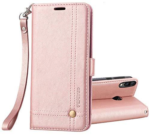 Ferilinso Funda para Xiaomi Redmi Note 6 Pro,Carcasa Cuero Retro Elegante con ID Tarjeta de Crédito Tragamonedas Soporte de Flip Cover Estuche de(Oro Rosa)