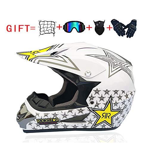 YingZW Off-Road-Motorrad-Helme Motocross Quad-Motorrad-Roller Sturzhelm MTB ATV Dirt Bike Straße Motorrad-Sturzhelm Männer Frauen Universal (Zahnrad-Skibrillen Handschuhe Maske Helm Net),S