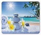 Almohadilla de ratón para spa, Tratamiento de spa en la playa tropical Sunshines Palmeras Bungalows Cubierta de madera, Rectángulo estándar Almohadilla de mouse de goma antideslizante, Azul Amarillo Verde