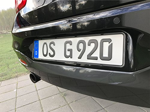 DEZENTOFIX CMS Kennzeichenhalter (EU Standard Grösse 52cm), Schwarz, Anzahl 2 - 3