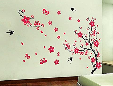 Cherry blossom wall decal-spring trend flower wall sticker-vine wall decal with red florals-Living room wall decal-tree branch flower decal