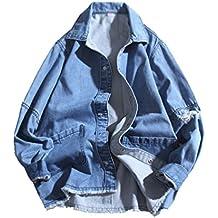 ZKOO Chaqueta Vaquero Para Hombre Suelto Cazadora Trucker Chaqueta De Mezclilla Jacket Outwear Casual