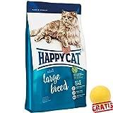 HAPPY CAT Adult Large Breed HCAB+ BALL Gratis Alle Ausgewachsenen Katzen Ideale Zahnpflege (10 kg)