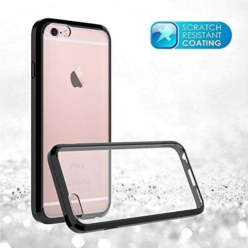 FoneExpert® iPhone 6 6s - Ultra Air Hybrid Etui Housse Coque La face arrière Claire Avec Bumper en TPU Case Cover pour iPhone 6 6s (Noir) Noir