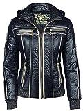 Trisens Damenjacke ÜBERGANGJACKE Biker Jacke Jacket KURZ LEICHT FRÜHLING Kapuze, Farbe:Dunkelblau, Größe:XXL