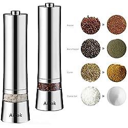 Aicok Salz und Pfeffermühle, Elektrische Pfeffermühle, Elektrische Gewürzmühle mit einstellbarer Feinheit 2er Set, Silber