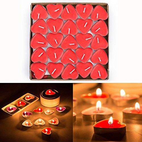 Txyk 50pcs Teelicht Set Romantische Herz Kerzen Rauchfrei Teelicht für Geburtstag, Vorschlag,Hochzeit,Party(Rot)