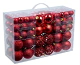 100 Weihnachtskugel Rot glänzend glitzernd matt mit 100 Metallhaken Christbaumschmuck bis Ø 6 cm Baumschmuck Weihnachten Deko Anhänger