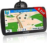 Jimwey Navigationsgerät für LKW Auto Navigation GPS Navi Navigationssystem 9 Zoll 16GB Lebenslang Kostenloses