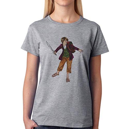 Mr Baggins Figure Colorfull Damen T-Shirt Grau