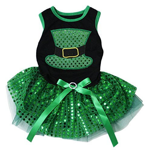 Pet Supply St Patrick's Day Green Hat Black Cotton Top Sequins Tutu Dog Dress (Large) - Day Green Hat