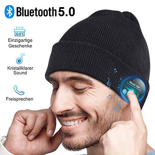 Bluetooth Mütze Herren Damen Geschenk, Bluetooth 5.0 Kopfhörer Männer Mütze Beanie mit Mikrofon für Freisprechanruf, Musik, Laufen, Skifahren, Elektronische Geschenke Unisex Weihnachts Geschenke