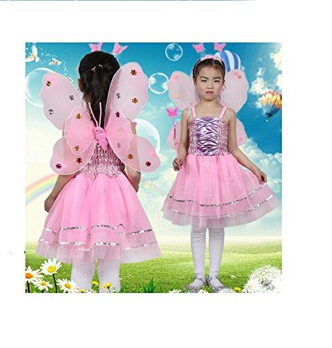 Matissa Kinder Mädchen 4 Stück Komplette Schmetterling Kostüm Set Fee Schmetterlingsflügel Alice Stirnband Tutu Kleid und Zauberstab (Rosa)