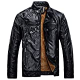 Mens Zipped PU Leather Jacket Thicken Warm Outdoor Military Slim Fit Long Sleeve Casual Coat Parka Trench Coats Blazer Windbreaker Outerwear For Autumn Winter