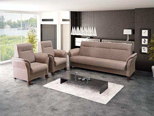 Polstergarnitur Sofa Set 3er Couch & 1er Wohnlandschaft 3-Sitzer und zwei Sessel Möbel Set - ANNA (Cappuccino)
