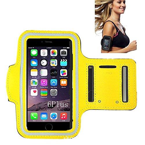 iPhone 66S Sportarmband, CANTOP Sportarmband Schutzhülle für iPhone 66S 55S iPod mit Schlüsseltasche, verstellbar, einfach Kopfhörer Anschluss, Best für Gym, Sport Fitness, Laufen, Training, gelb
