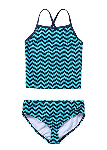 Attraco-Girls-Two-Piece-Tankini-Swimsuit-With-Shorts-Fashion-Stripe-Swimming-Coustume