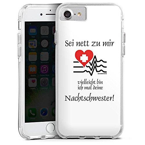 Apple iPhone 7 Bumper Hülle Bumper Case Glitzer Hülle Nachtschwester Nurse Krankenschwester Bumper Case transparent