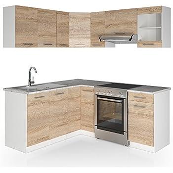 vicco winkelk che k chenzeile 190 x 170 cm wei hochglanz k che in l form k chenblock. Black Bedroom Furniture Sets. Home Design Ideas