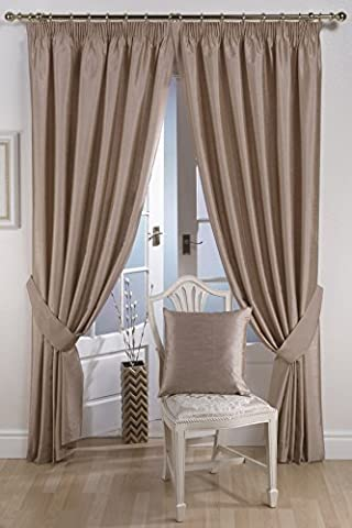 Ravello Faux Silk Ready Made Fully Lined Tape Curtains Mink - Colour: Mink