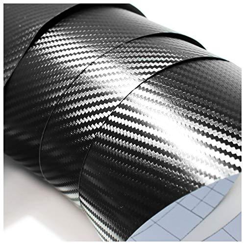 Finest Folia (3,50€/m²) 3D Carbonfolie Auto Folie Carbon Glanz 4d matt schwarz blasenfrei 5d (Schwarz, 200cm x 152)