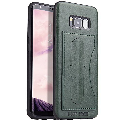 FLY Samsung Galaxy S8 PU Leather Slim Wallet Phone Case Kickstand Protective Cover with Card Holder Green