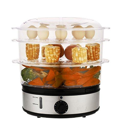 Tomasa Obsttrockner Dörrapparat Dampfgarer mit Digitaluhr, 9L und 800W Home Küche elektrischer Obst Dörrgerät früchte trocknen , [Energieklasse A +++]