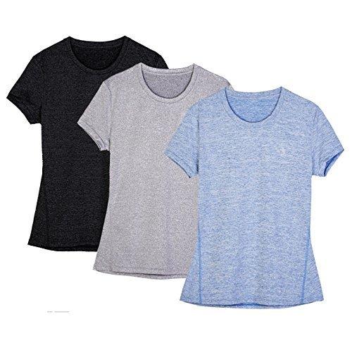 icyZone® Damen Sport T-Shirt Running Fitness Shirts Sportbekleidung Kurzarm Oberteile Shortsleeve Top L Black/Granite/Blue -