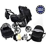 Baby Sportive - Sistema de viaje 3 en 1, silla de paseo, carrito con capazo y silla de coche, RUEDAS ESTÁTICAS y accesorios, color negro, lunares